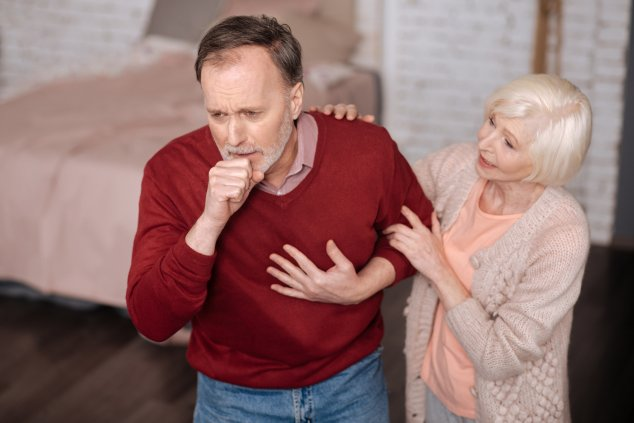 Man with asthma symptoms