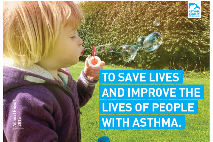 Asthma Society of Ireland Annual Report 2015 Cover with Girl Blowing Bubbles