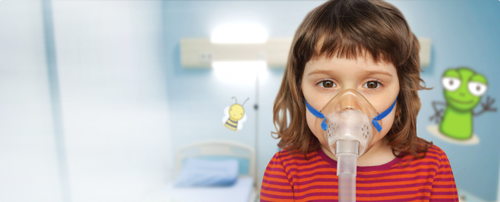 Young girl with nebuliser