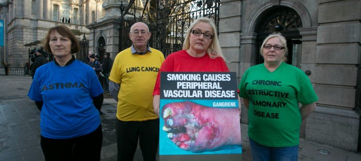 Patients supporting plain pack law outside Dail Eireann