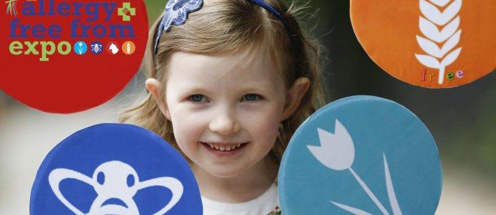 Little Girl holding Allergy Free From Expo Logo