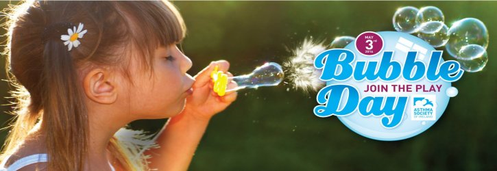 Bubble Day Image of Girl Blowing Bubbles and Bubble Day Logo